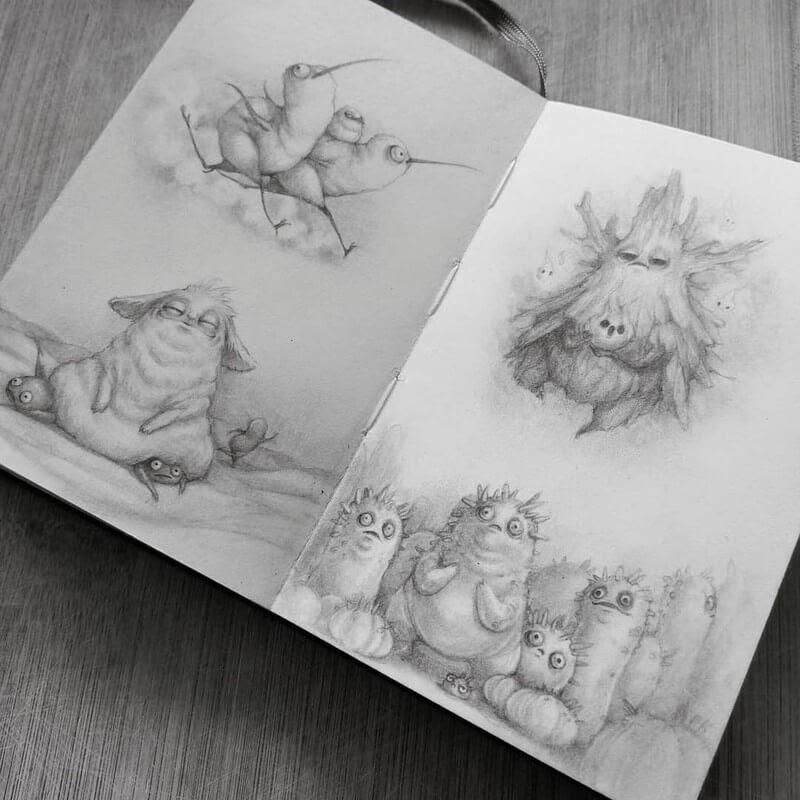 12-Stella-Bialek-Moleskine-Fantasy-Creatures-Drawings-www-designstack-co