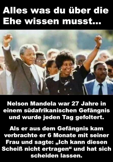 Nelson Mandela - lustiger Spruch über Ehe und Gefängnis