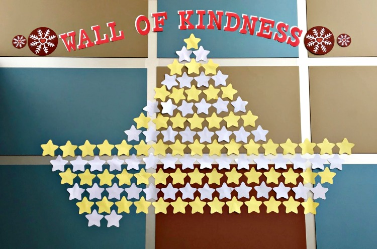 As gifts are donated for the Wall of Kindness, a star gets added to the wall.