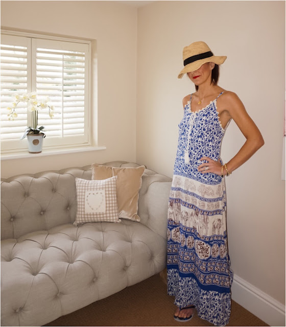 My Midlife Fashion, Coco Bay, Debbie Katz Gaja Maxi Dress, Debbie Katz Maya Bag, Seafolly Layaway fedora Hat, Havaiana animal print slim flip flops