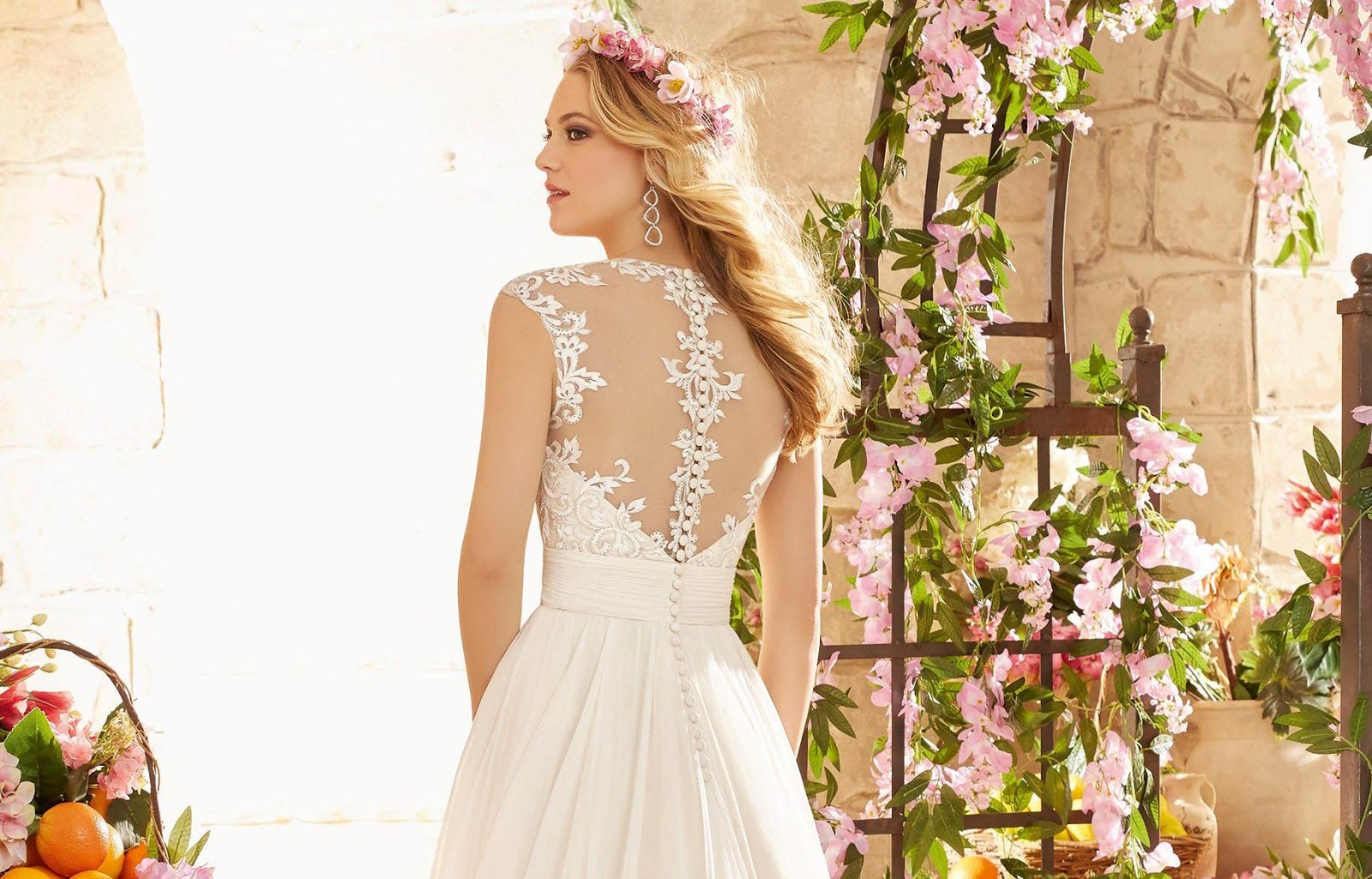Charming A Line Straps Floor Length Sweep Train Backless Wedding Dress