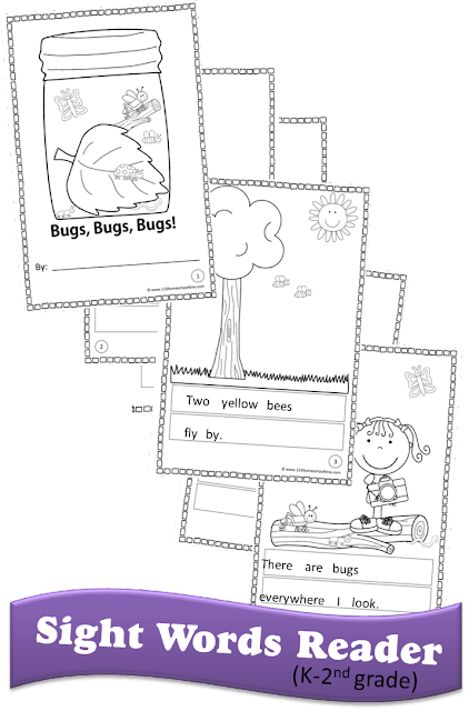 Bugs Sight Words Reader - kids get to cut and paste sight word sentences and color to make their own emergent readers in kindergarten, first grade, second grade (free printable)