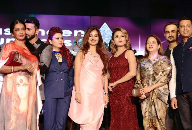 (L-R) Artist Anjanna Kuthiala, Designer Bharat & Reshma, Fashion Designer Preeti Ghai, Makeup Expert Aashmeen Munjaal, Entrepreneur Ramola Bacchan, Hair Stylist Niell Talwar and