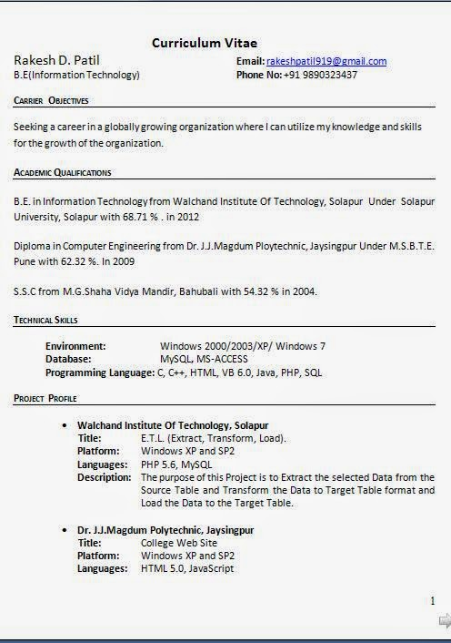Resume Format For Freshers Information Technology