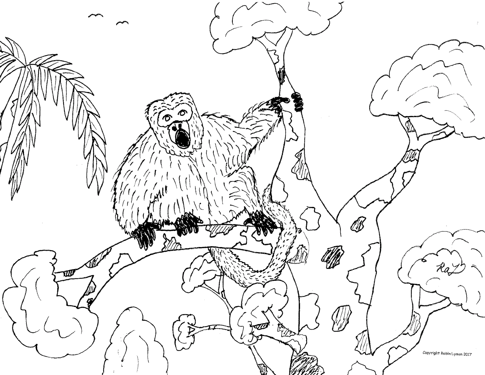 Robin's Great Coloring Pages: Howler Monkey and Spider Monkey