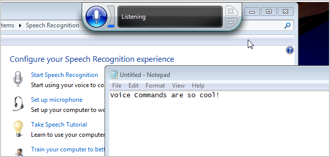 Screen shot of Windows Speech Recognition.