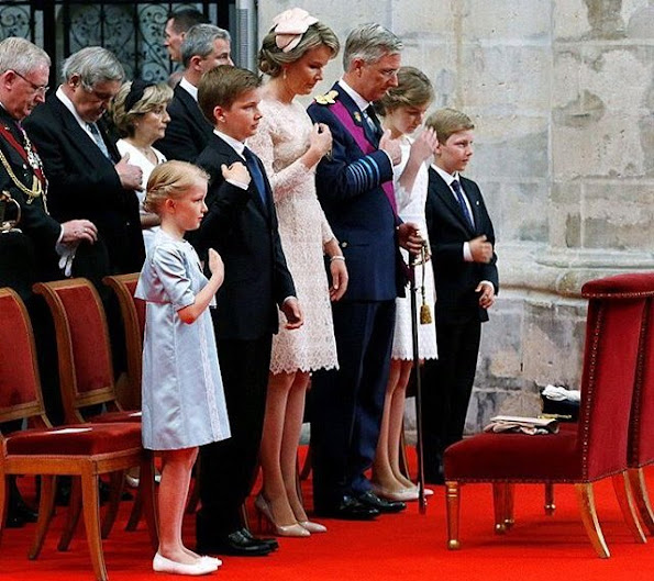 King Philippe, Queen Mathilde, Crown Princess Elisabeth, Princess Eleonore, Prince Gabriel and Prince Emmanuel, Mathilde wore Natan Lace Dress