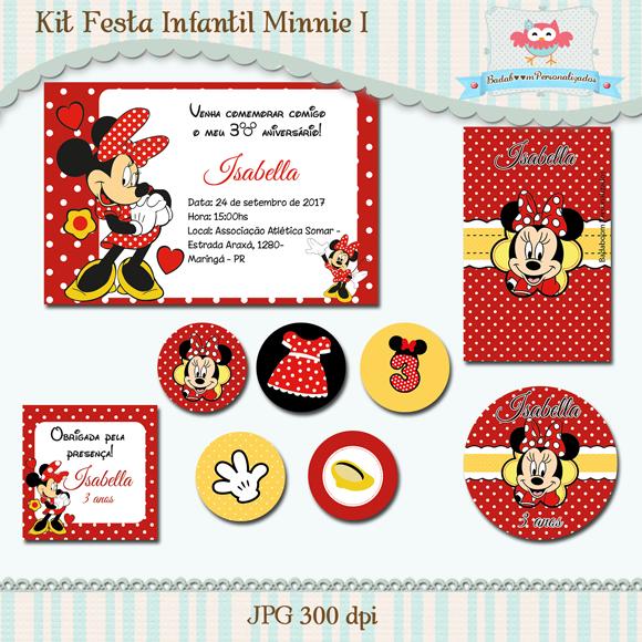Kit de artes digitais para festa infantil Minnie vermelha