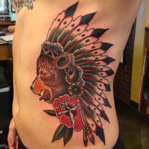 kızılderili ayı dövmesi