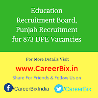 Education Recruitment Board, Punjab Recruitment for 873 DPE Vacancies