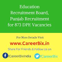 Education Recruitment Board, Punjab Recruitment for 873 DPE Vacancies