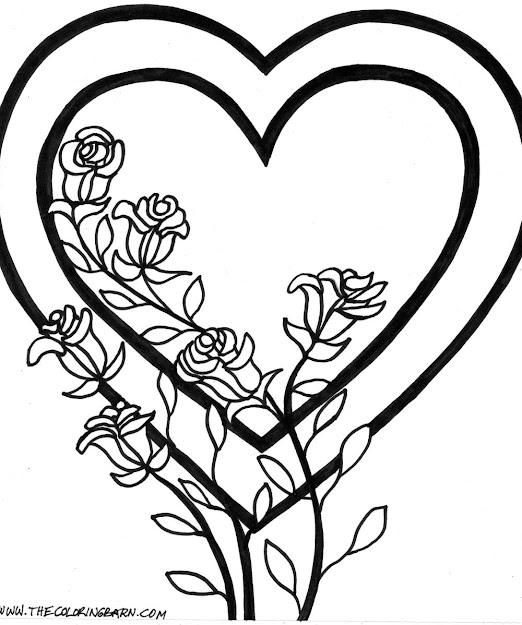 Hearts And Roses Coloring Pages  Roses Valentine Coloring Page Tied Hearts  Valentine Coloring Page