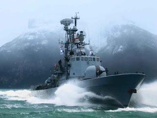 Ship of the Chilean Navy near the Golfo de Penas.