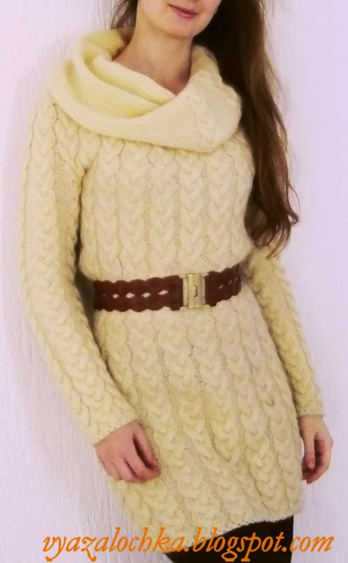 Вязалочка: Вязаное платье с косами