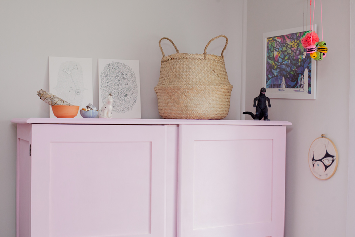 bedroom styling with pink wardrobe