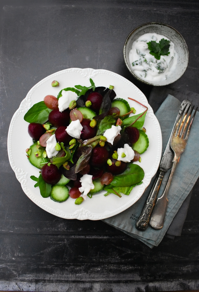 Beet, Grape & Cream Cheese Salad with Fresh Herb Yogurt Dressing A colourful beet salad with lots of flavour and texture, served with a yogurt, fresh herb and garlic dressing. Suitable for vegetarians and vegans.