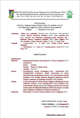 kemaren batas akhir pengumpulan pengajuan Proposal Dana BOP  Contoh Format SK Bendahara TK Untuk BOP 2018