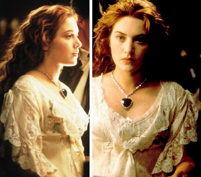 Cenas do filme Titanic, Camisol da Rose (Kate Winslet) usando o coração do oceano