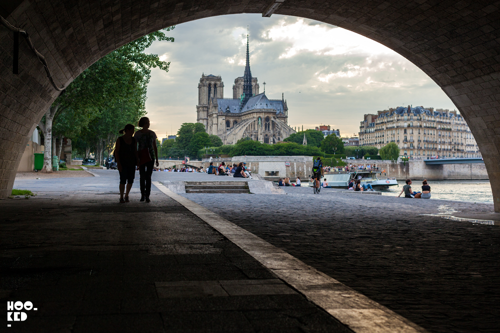 Views of Notre Dame from the banks of the Seine river in Paris, France