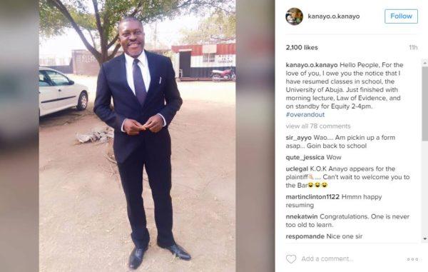Nollywood Veteran Kanayo. O. Kanayo Goes Back to School to get a Law Degree