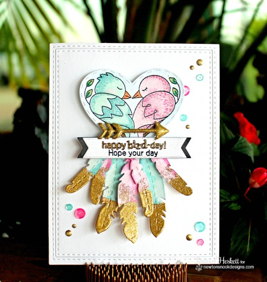 Ombré love birds card by Larissa Heskett | Darling Duos stamp set by Newton's Nook Designs #newtonsnook