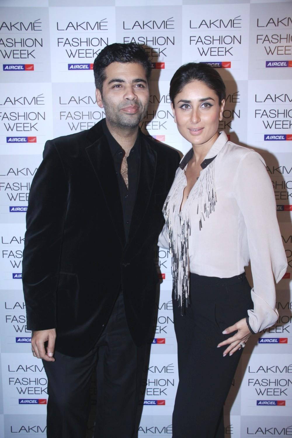 Kareena Kapoor and Karan Johar at Lakme Fashion Week 2012