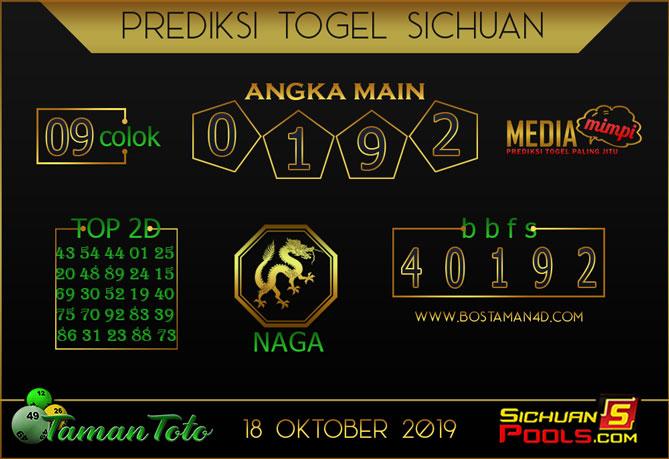Prediksi Togel SICHUAN TAMAN TOTO 18 OKTOBER 2019