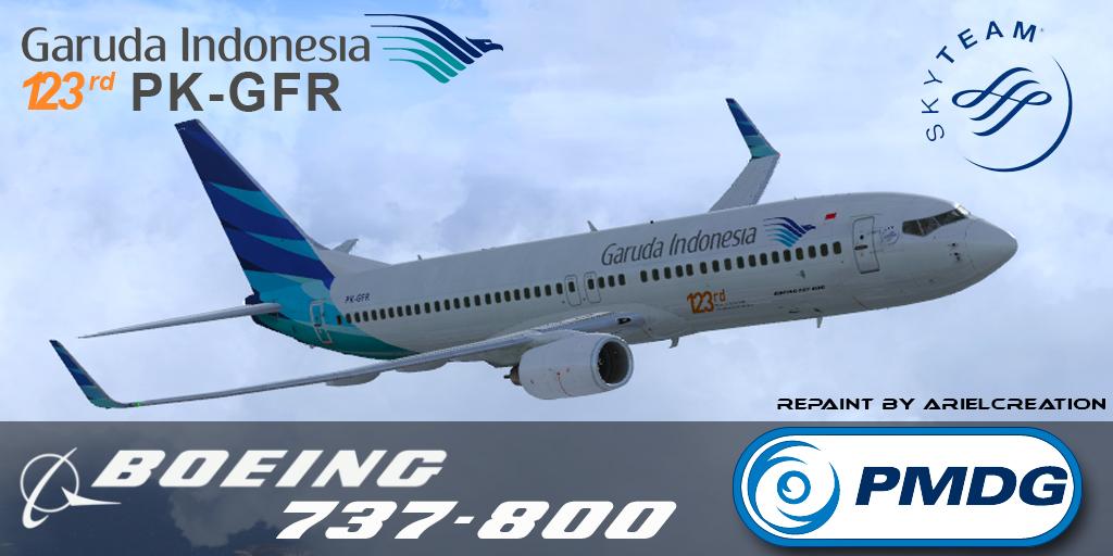 PMDG 737-800NGX Garuda Indonesia 123rd PK-GFR Livery FSX - Ariel