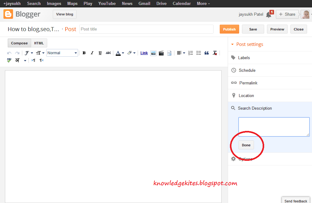add Meta-tags in blogger blog and blog post step 3