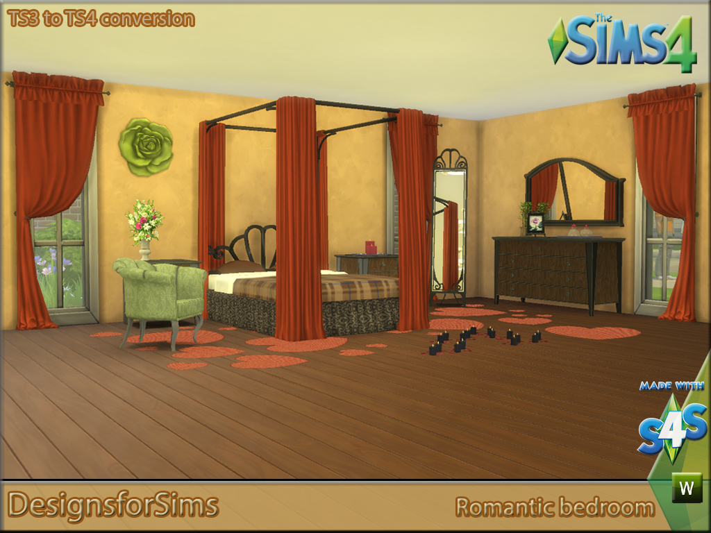 My Sims 4 Blog: TS3 Romantic Bedroom Set Conversions by