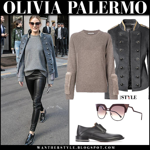 Olivia Palermo in grey corduroy military jacket, knit sweater and black leather jacket banana republic at Paris Fashion Week october 3 2017 fall fashion trends