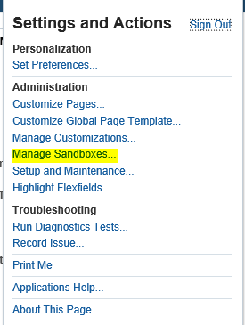 What is Sandbox in Oracle Fusion