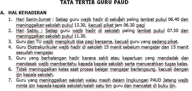 Download Tata Tertib PAUD Tahun Ajaran 2016-2017 Format Microsoft Word