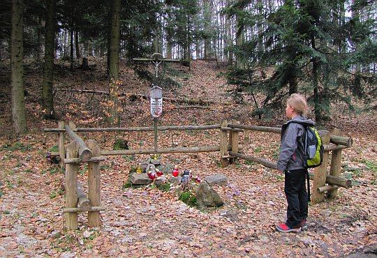 Przed mogiłą żołnierzy AK poległych we wrześniu 1944 roku