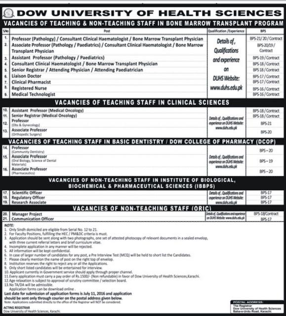 MBBS Doctors Jobs in Dow University Karachi 2016