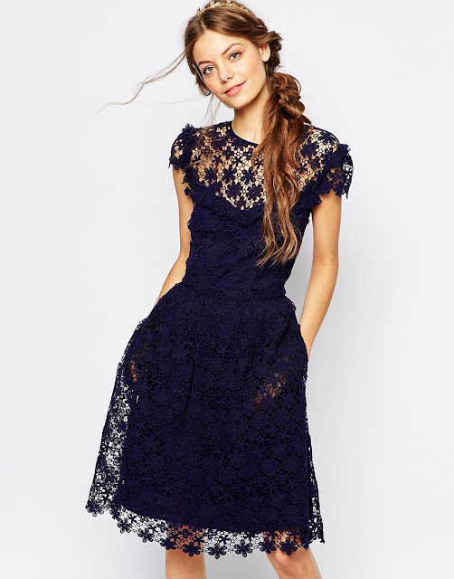 paul and joe navy  lace dress, navy floral lace dress, paul joe sister lace dress,