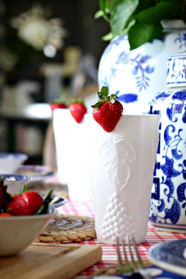 red white and blue tablescape, fourth of july decorations, patriotic table setting, milkglass