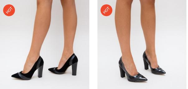 Pantofi cu toc gros din piele eco intoarsa moderni ieftini negri