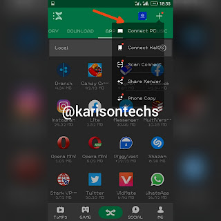 connect to pc button xender