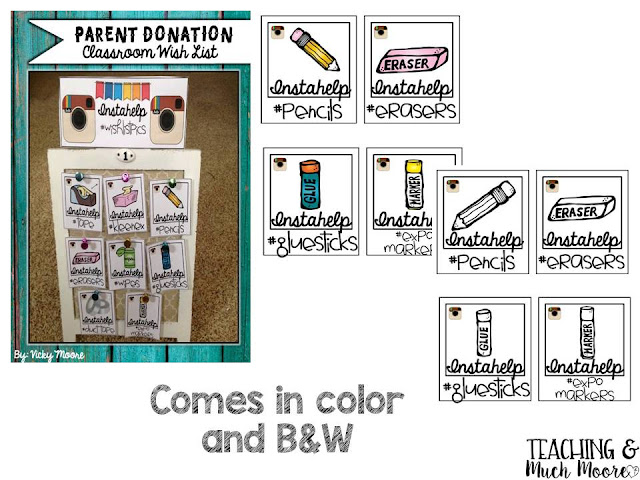 Parent Donation Wishlist board to have out at Back to School Night