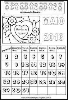 Calendário de 2016 - maio