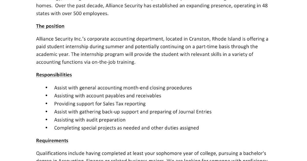 URI CBA Internship/Job Information: Alliance Security - Accounting