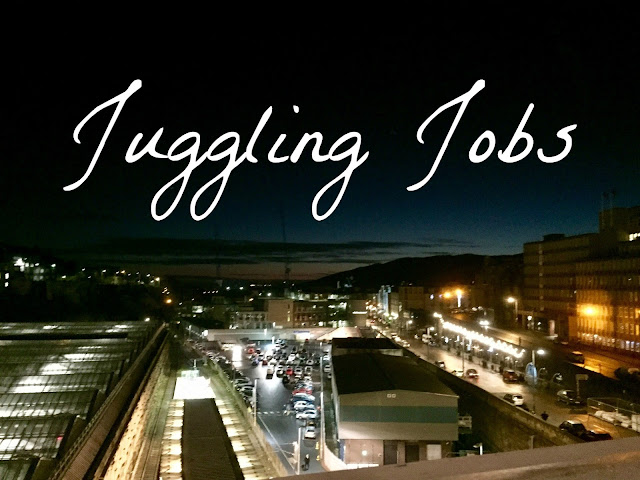'Juggling Jobs' text on background of Edinburgh viewed from North Bridge at night