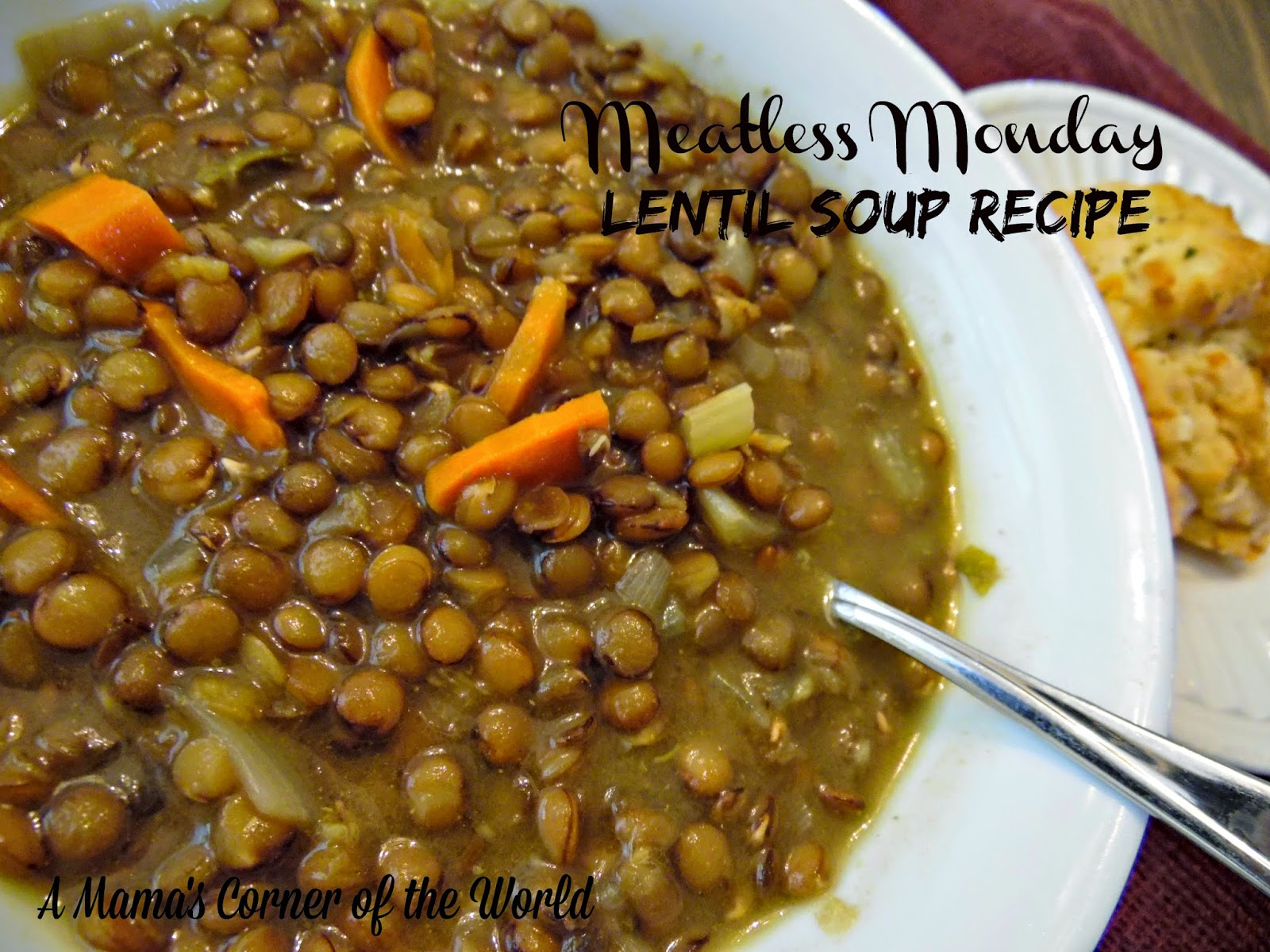 Homemade lentil soup with bread