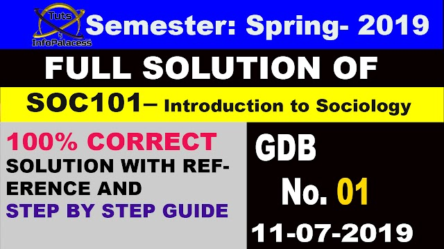 Introduction to Sociology SOC101 GDB # 1 Solution Spring 2019