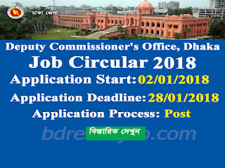 Deputy Commissioner's Office, Dhaka Job Circular 2018