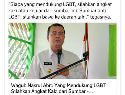 dukung LGBT silahkan angkat kaki dari sumbar ungkap nasrul abit