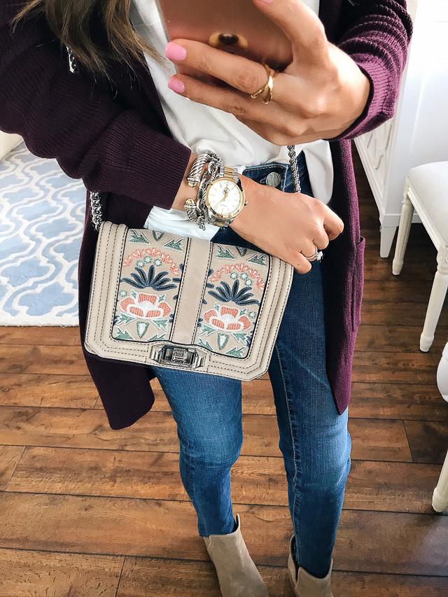Rebecca Minkoff small love embroidered nubuck crossbody bag