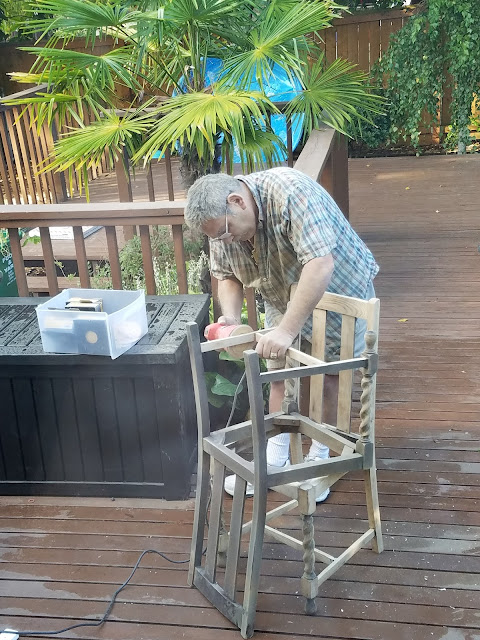 sanding antique chairs