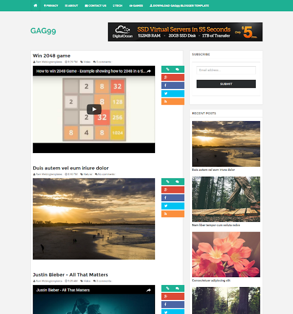 Gag99 - Personal Blogger Template